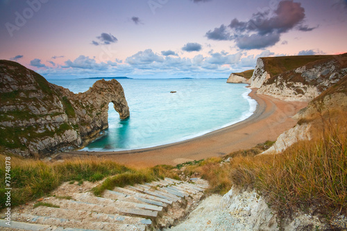 Montage in der Fensternische Kuste Durdle Door on Jurassic Coast in Dorset, UK.