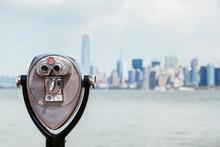 Cityscape Of New York With Binocular