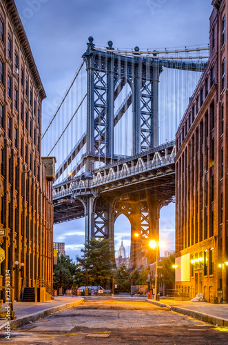 Printed kitchen splashbacks Brooklyn Bridge Manhattan Bridge seen from Brooklyn, New York City.