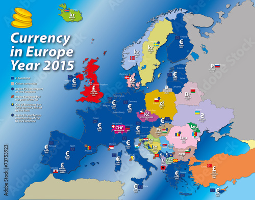 Europe Currency Map Euro Zone This Stock Vector And
