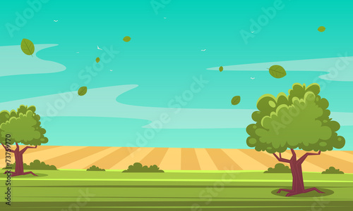 Poster Groene koraal Cartoon Summer Landscape