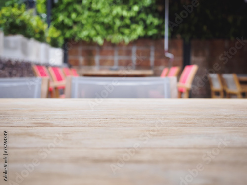 Wooden Table Top With Dining Background