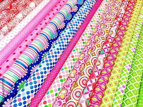 Bunte Stoffe Im Stoffladen Buy This Stock Photo And Explore
