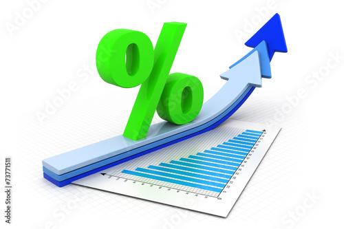 Fotografía  Percentage symbol and arrow graphs .