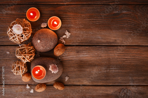 Foto auf Leinwand Spa Composition of spa treatment on wooden background