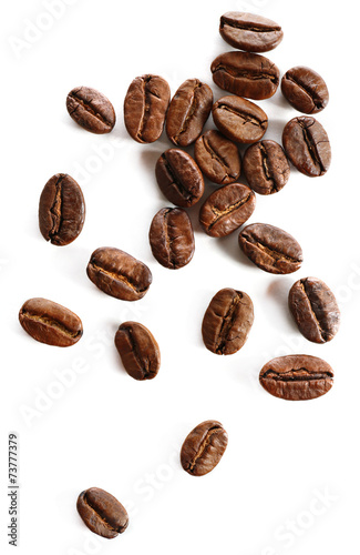 Poster Café en grains Coffee beans, isolated on white