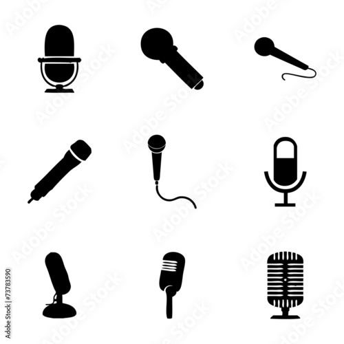 Vector microphone icons set