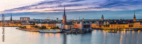 Scenic summer night panorama of  Stockholm, Sweden Canvas Print