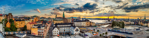Scenic summer night panorama of  Stockholm, Sweden Wallpaper Mural