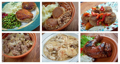 Food set of different  meat . © Fanfo