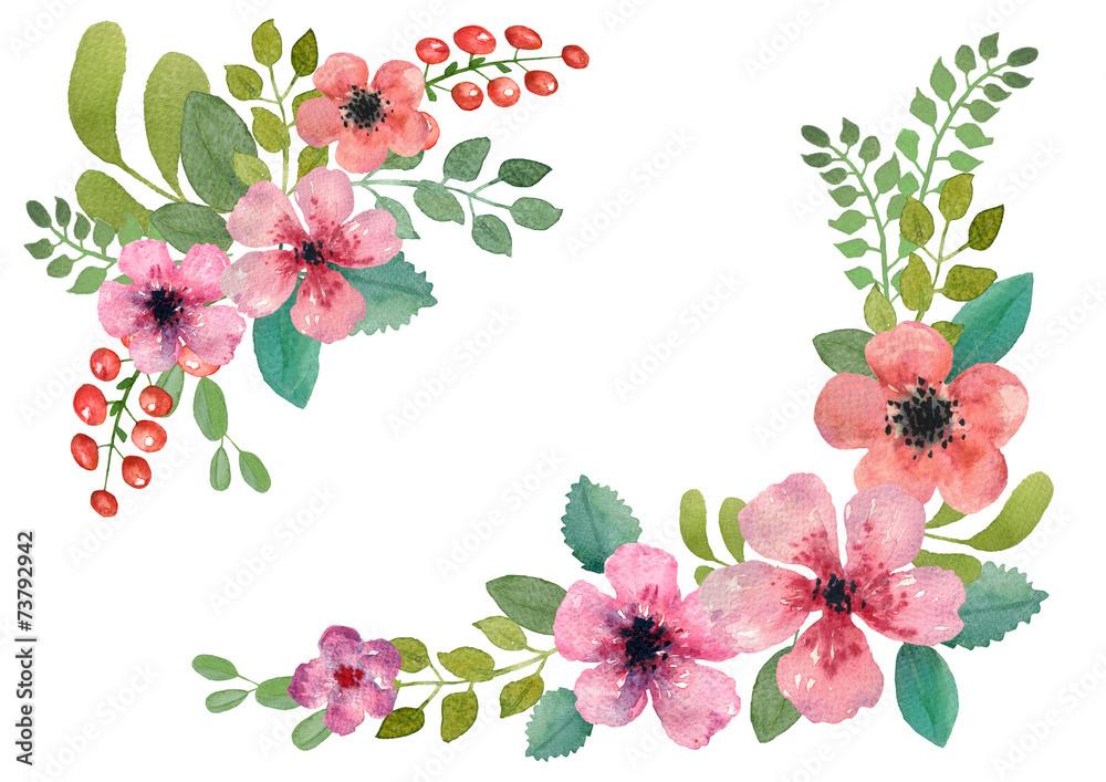 Fototapeta Watercolor floral wreath.