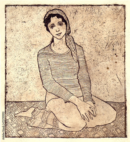 The girl sitting on a carpet Canvas Print