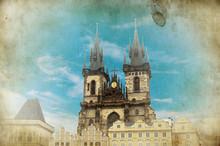 Old Town Hall In Prague. Vintage Card