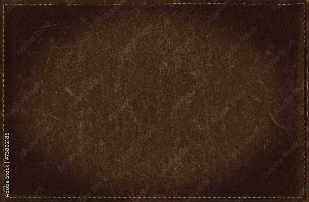 Fototapety, obrazy: Dark brown grunge background from distress leather texture