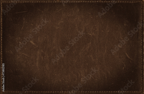 Fotografie, Obraz  Dark brown grunge background from distress leather texture