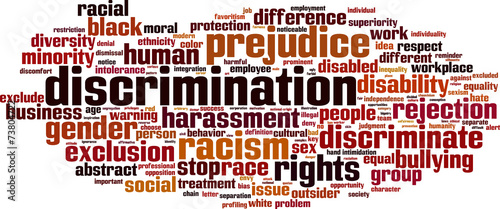Discrimination word cloud concept. Vector illustration Canvas Print