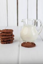 Glass Jug With Milk And Chocol...