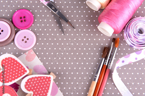 Fotografie, Obraz  Scrapbooking craft materials on bright background