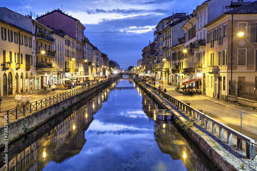 Poster Milan Naviglio Grande canal in the evening, Milan