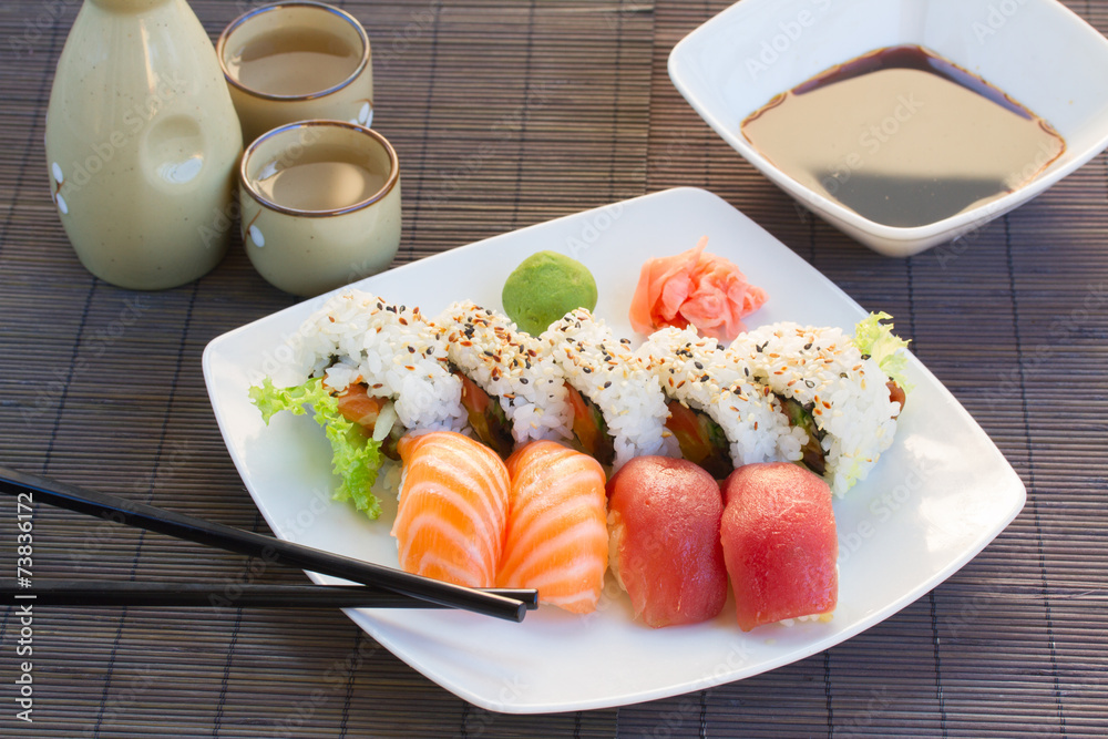 Photo  lunch with  sushi dish