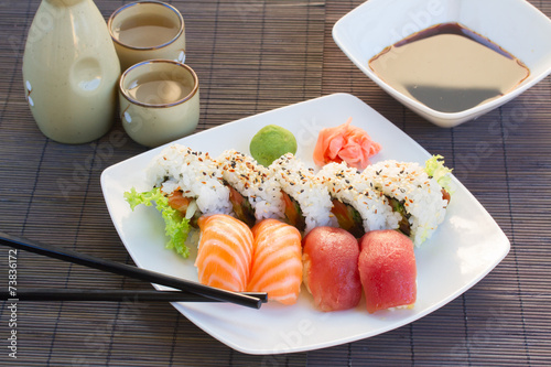 Foto  lunch with  sushi dish