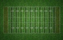 American Football Field On Grass