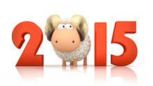 Sheep And 2015 On White Backgr...