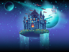 Illustration Space Castle With A Waterfall On The Background Of