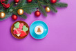 Leinwanddruck Bild - cappuccino and christmas tree shape with cookie