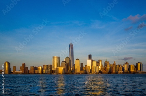 Manhattan Skyline from Jersey at twilight, New York City Poster