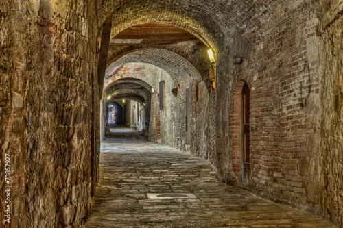 Photo Stands Narrow alley covered alley in Colle di Val d'Elsa, Tuscany, Italy