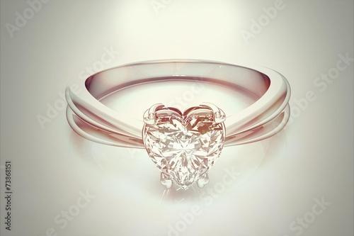 Fotografie, Obraz  Ring with diamond  on white background