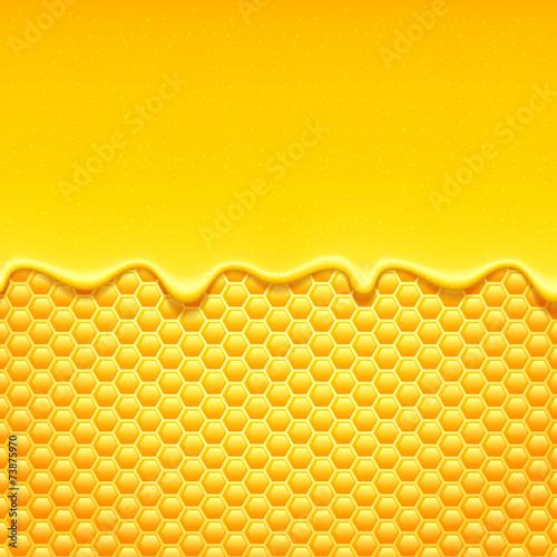 Valokuva  Yellow pattern with honeycomb and honey drips.