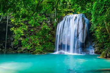 Panel Szklany Optyczne powiększenie Waterfall in the tropical forest in Thailand