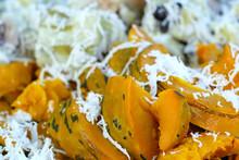 Thailand Dessert - Boiled Pumpkins Put Coconut