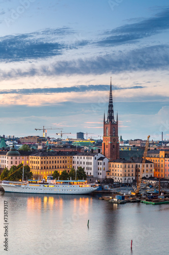 Raamstickers Stockholm Scenic summer night panorama of Stockholm, Sweden