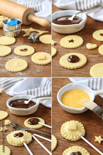 Fotografie, Obraz  Pie pops with cocolate step by step