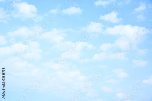 Light blue sky with clouds Wallpaper Mural