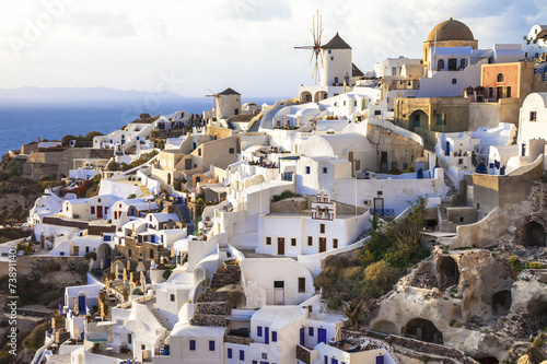 Fototapety, obrazy: Oia village , Santorini, view with windmills