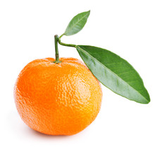 Tangerine With Leaves Isolated On White