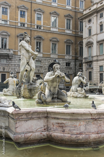 Photo  Rome, Italy. The fountain on Navona Square
