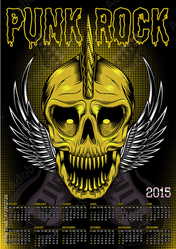 Valokuva  poster skull and calendar for punk rock