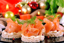 Holiday Appetizer With Salmon Canapes