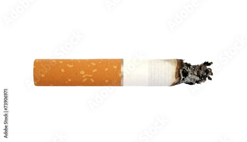 Fotografija  Cigarette butt with ash, isolated on white background