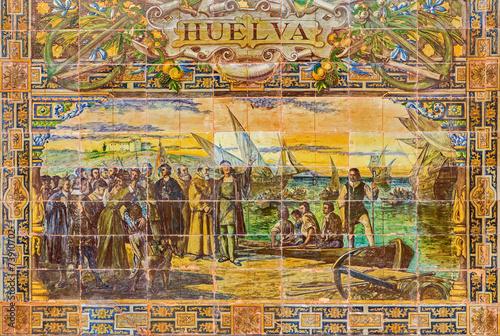 Seville - The Huelva - tiled provinces on Plaza de Espana