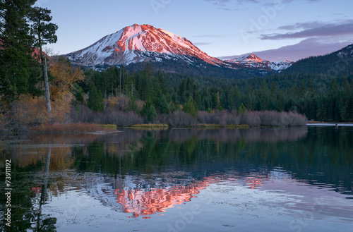 Lassen Peak National Volcanic Park Manzanita Lake Sunset Wallpaper Mural