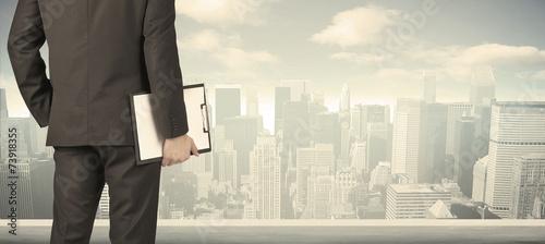 Obrazy na płótnie Canvas Businessman with city view