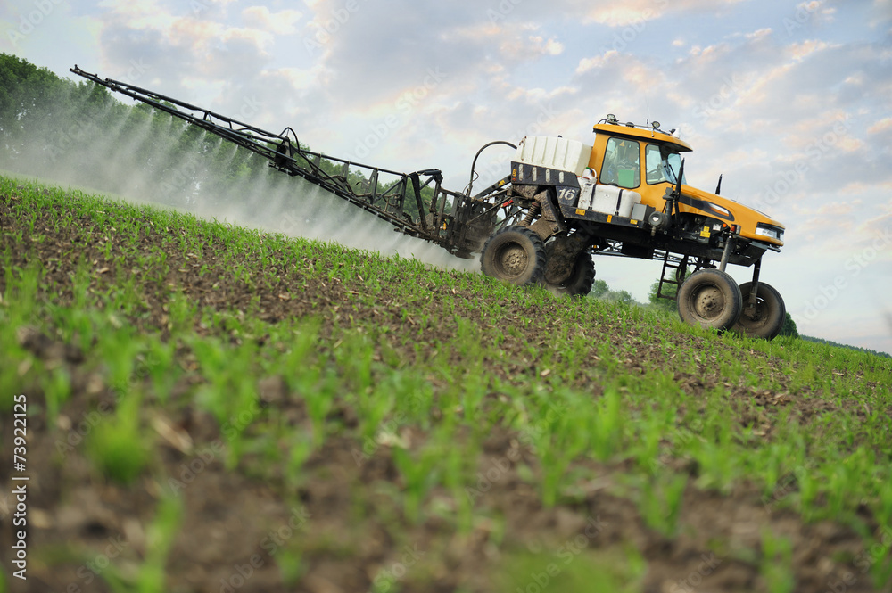 Fototapety, obrazy: farm tractor spraying substances against pests in the field