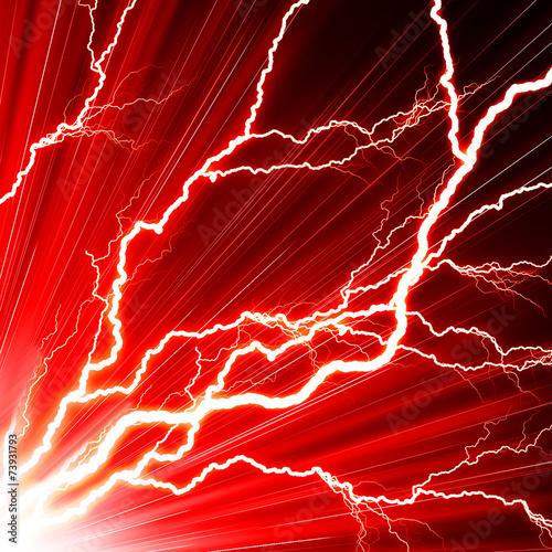 Obraz Electric flash of lightning on a red background - fototapety do salonu