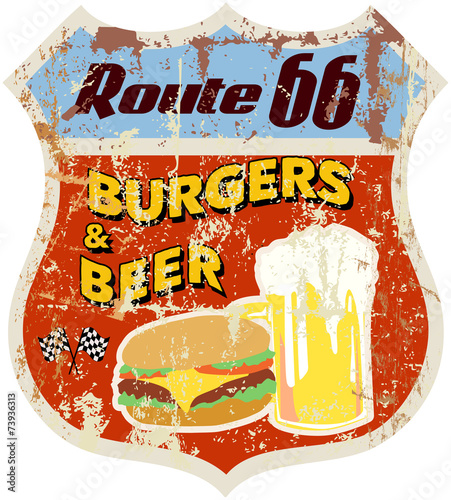 retro route sixty six diner sign,vector eps 10
